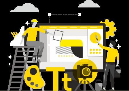 ilustração sobre criatividade cor preto, cinza e amarelo promospot Agência de publicidade